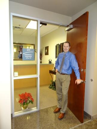 Andrew at door
